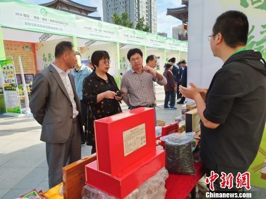 图为陕西客商与参展企业洽谈。 胡友军 摄