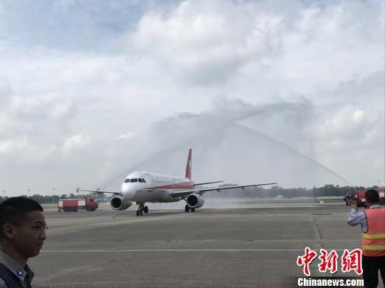 四川航空西安―缅甸仰光首航成功。 四川航空供图