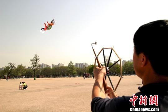 """图为""""公鸡斗架""""风筝的制作者李涛放飞风筝。 张一辰 摄"""