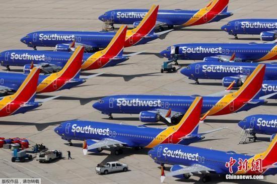 资料图:美国西南航空公司旗下的波音737 MAX飞机机队。