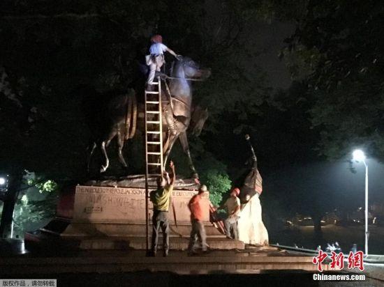 为防暴乱 美国连夜拆除内战南方将领雕像