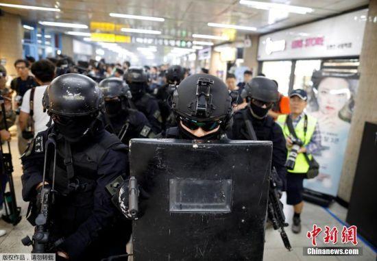 """美韩启动""""乙支自由卫士""""军演 首尔举行反恐演习"""