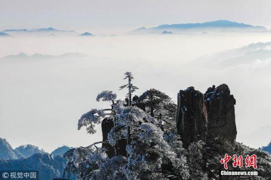 安徽黄山现冬日雪凇美景
