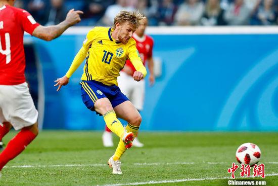 福斯贝里一剑封喉 瑞典1:0小胜瑞士挺进八强
